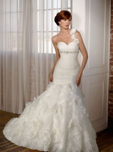 50 One Shoulder Bridal Dresses Ideas 49
