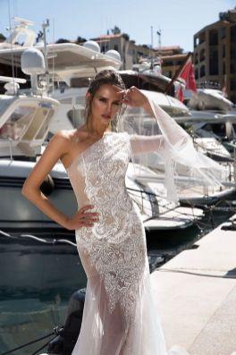 50 One Shoulder Bridal Dresses Ideas 53