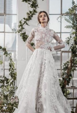 50 Simple Glam Victorian Neck Style Bridal Dresses Ideas 10