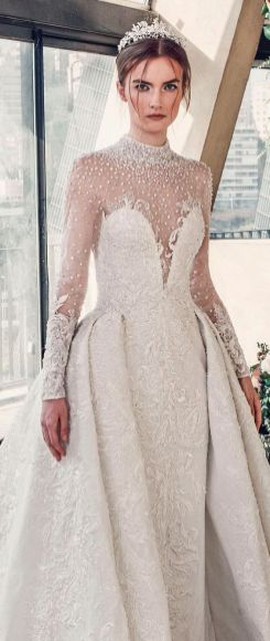 50 Simple Glam Victorian Neck Style Bridal Dresses Ideas 16