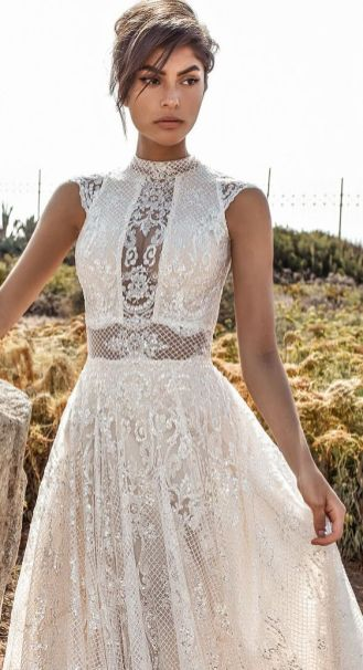 50 Simple Glam Victorian Neck Style Bridal Dresses Ideas 50