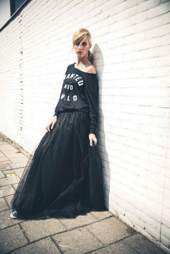 40 Simple Glam Black Tulle Skirt Outfits Ideas 26