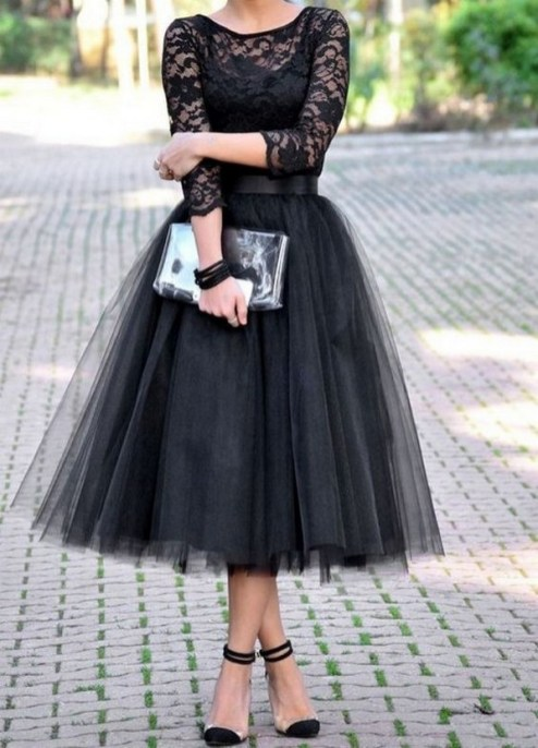 40 Simple Glam Black Tulle Skirt Outfits Ideas 48