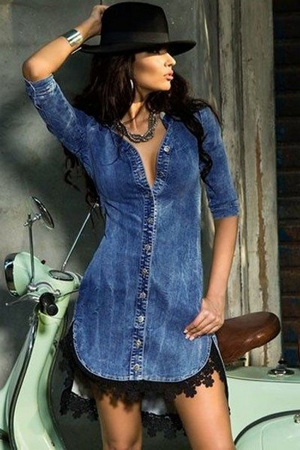 55 Casual Denim Dresses for Outing Ideas 54
