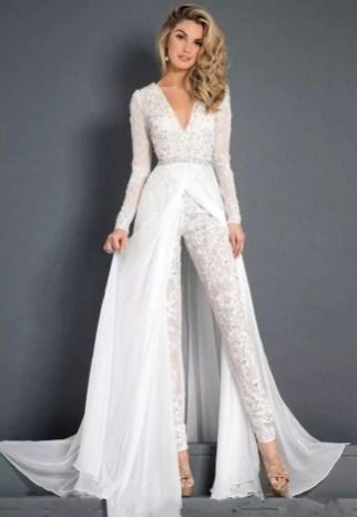 80 Simple and Glam Jumpsuit Wedding Dresses Ideas 1