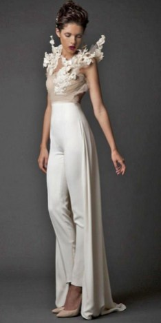 80 Simple and Glam Jumpsuit Wedding Dresses Ideas 48