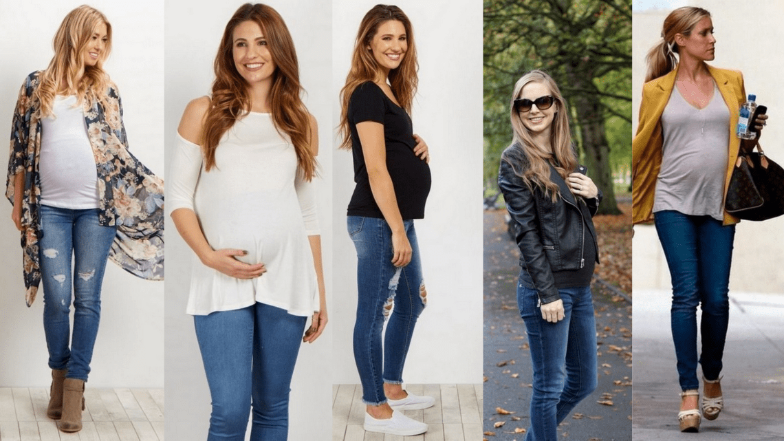 50 Comfy Jeans Outfits For Pregnant Women Ideas