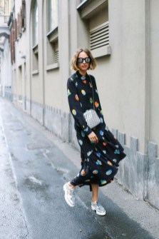 80 Stylish and Comfy Dress and Sneakers Outfit Look 11