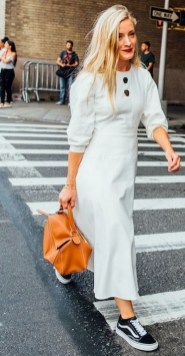 80 Stylish and Comfy Dress and Sneakers Outfit Look 53