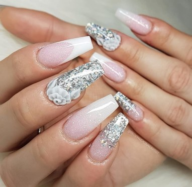 50 Acrylic Nails Ideas with Glitter Which You Love 10