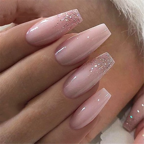 50 Acrylic Nails Ideas with Glitter Which You Love 46