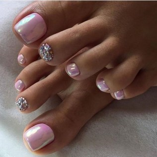 50 Ideas lovely Pink Toe Nail Art for Valentines Day 23