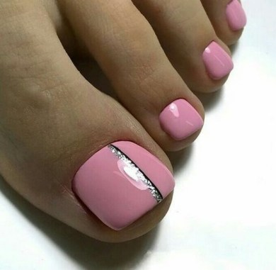 50 Ideas lovely Pink Toe Nail Art for Valentines Day 26