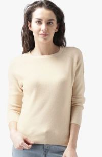 Mast & Habour Beige Solid Sweater