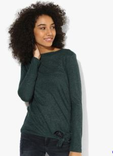 Tom Tailor Green Solid T Shirt