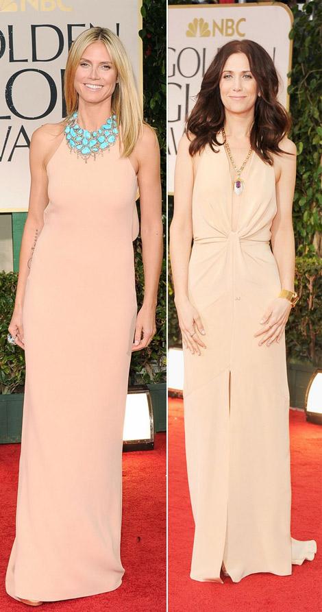Heidi Klum Kristen Wiig nude dresses 2012 Golden Globes