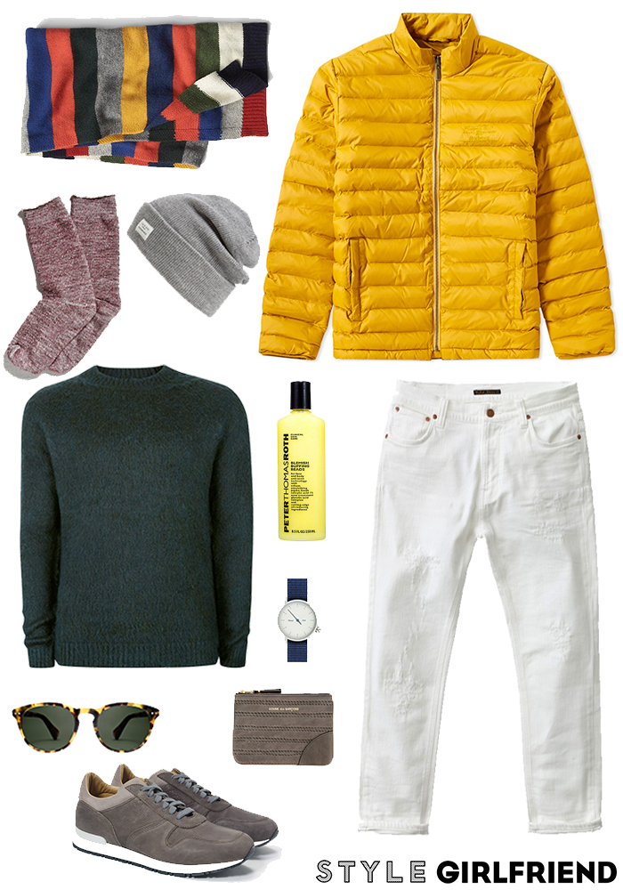 4aaf6708ed32 Winter Date Night Outfit #3: A Colorful Puffer and White Jeans
