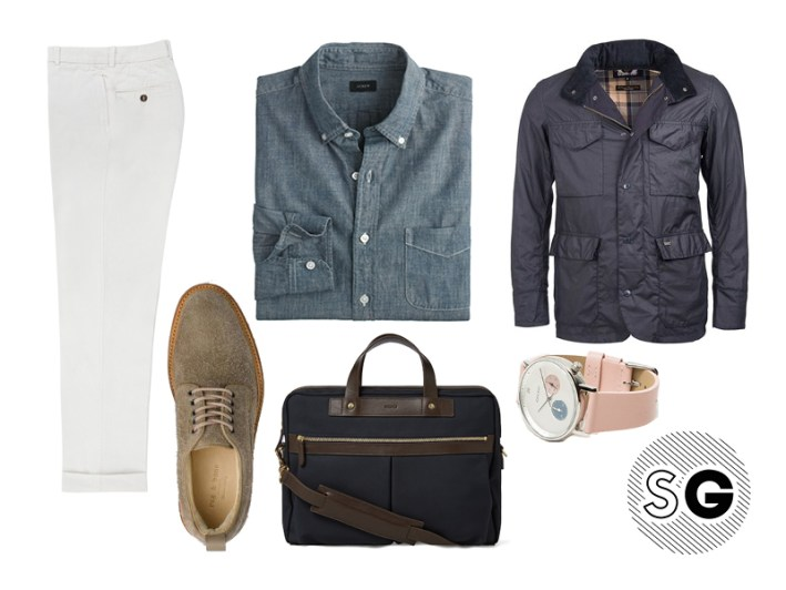 field jacket, barbour, need supply, komono, rag and bone, sid mashburn, waterproof, spring style, chambray, j crew, mismo
