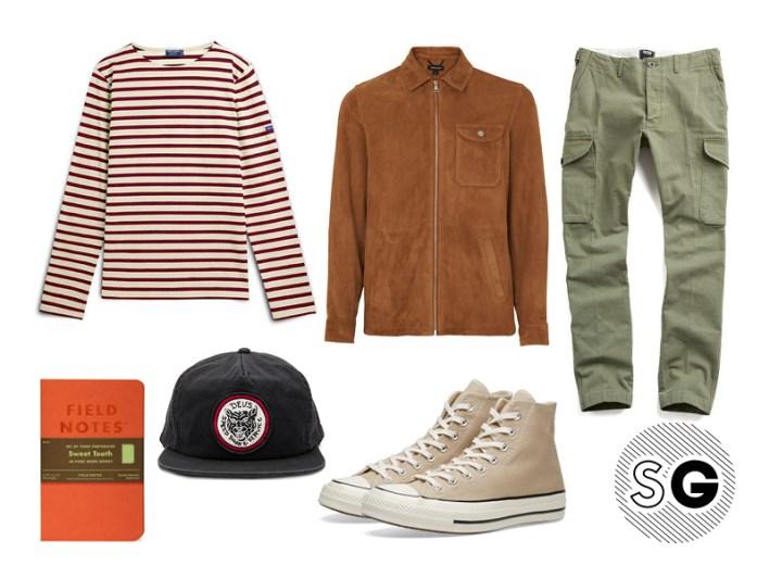 cargo pants, modern cargo pants, breton shirt, breton stripe, saint james, deus ex machina, whistles, todd snyder, converse