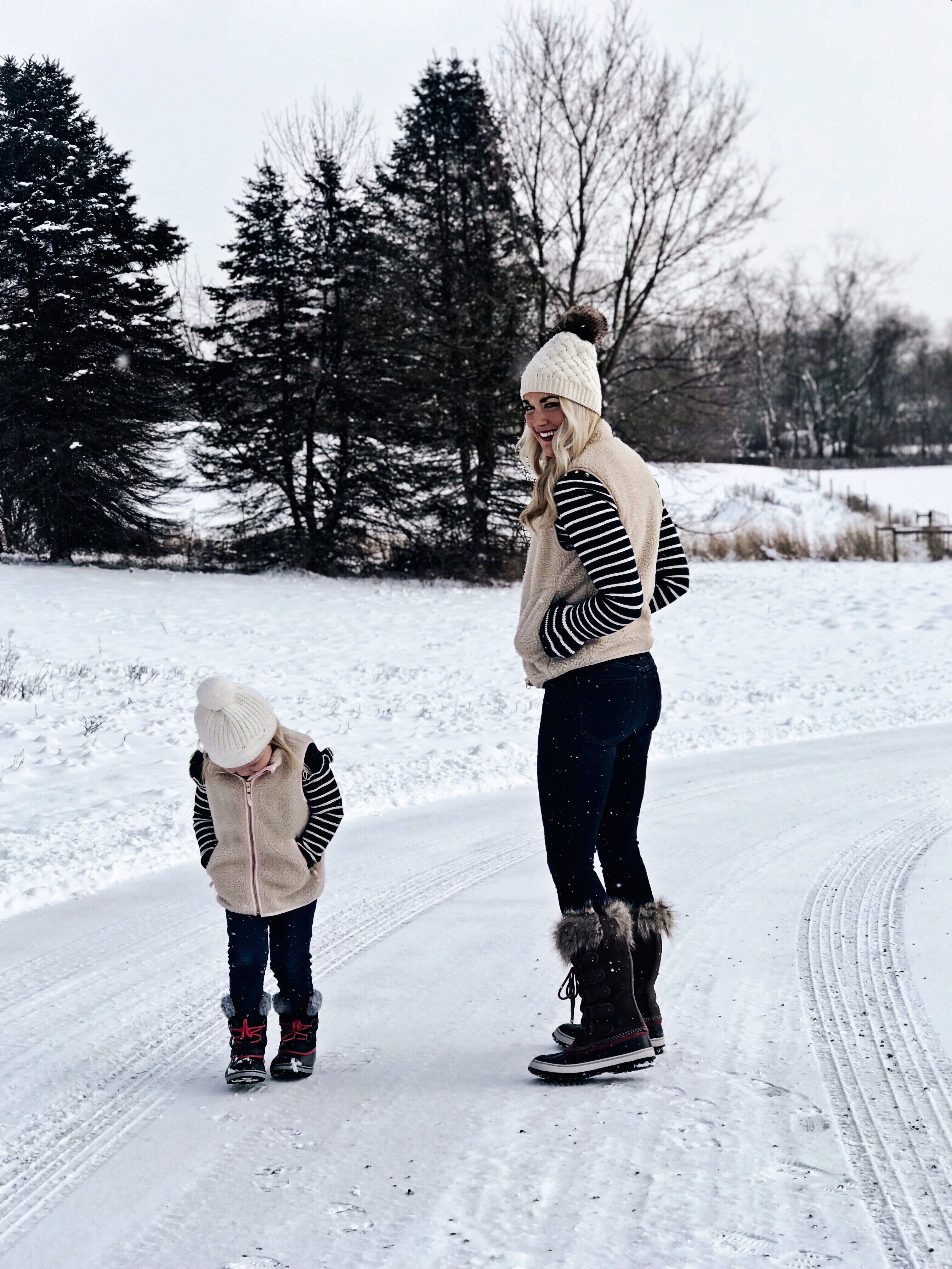 Mommy and Me | Cozy Winter Outfits | Sherpa Vests | Sorel Boots