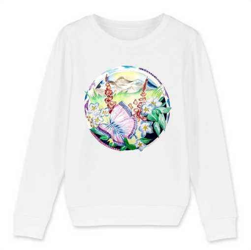 Vlinder In Een Wereld Van Bloemen Kinder Sweatshirt - 100 % Biologisch