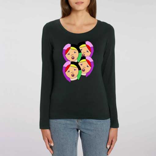 Zingen Of Schrikken Dames 100% biologisch T-Shirt Met Lange Mouwen