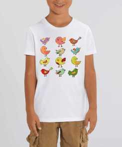 Cartoon Vogels Kinder T-shirt - 100 % Biologisch Katoen