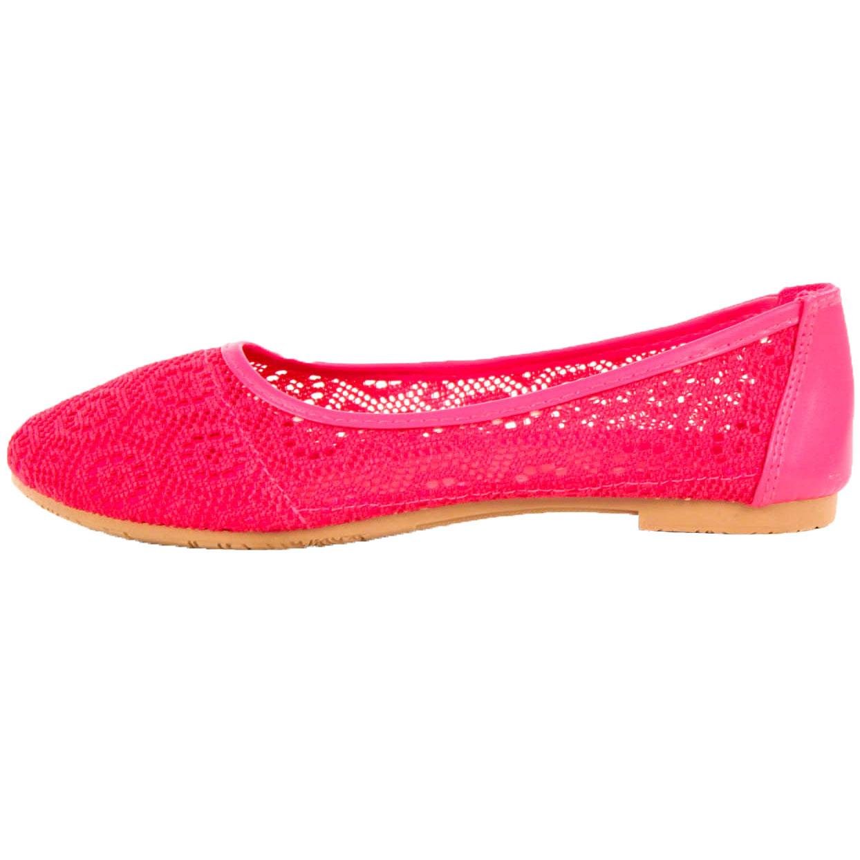 Womens Lace Ballet Flats Mesh Crochet Slip On Casual Shoes