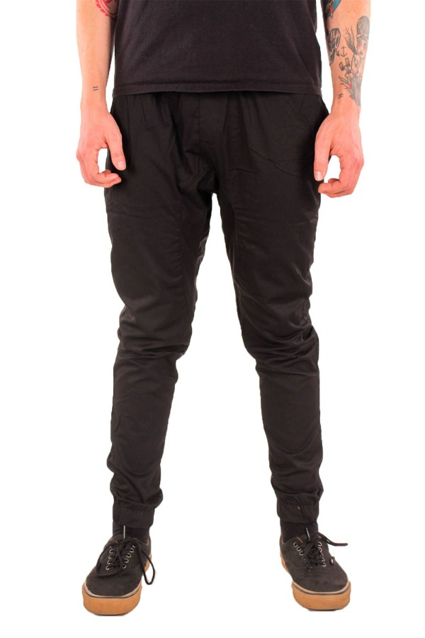 Mens 100 Cotton Joggers Pants Drop Crotch Twill Skinny Harem Elastic Waist Cuff