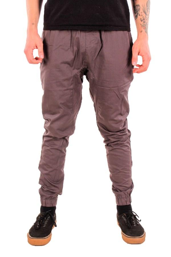 Mens 100 Cotton Joggers Pants Drop Crotch Twill Skinny