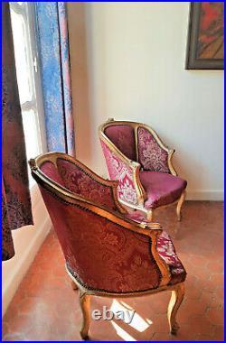paire de fauteuil bergere style louis xvi baroque en bois hetre dore tissu rouge style louis xvi