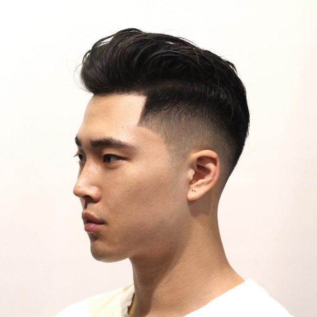 Mid Fade Comb Over Asian Novocom Top