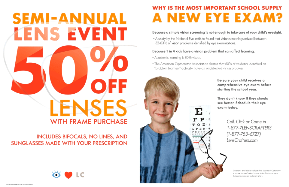 Lens Crafters Coupon  Coupon Valid