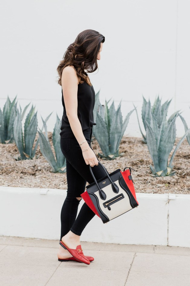 Blogger Style notes by belen wears topshop jamie jeans with celine luggage and red gucci shoes 1