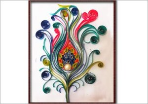 Peacock Feather Using Paper Quilling Art