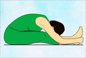 Paschimottasana yoga asana to reduce belly fat