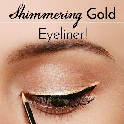 Gold Eyeliner Makeup for Green Eyes