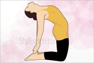 Camel pose exercise