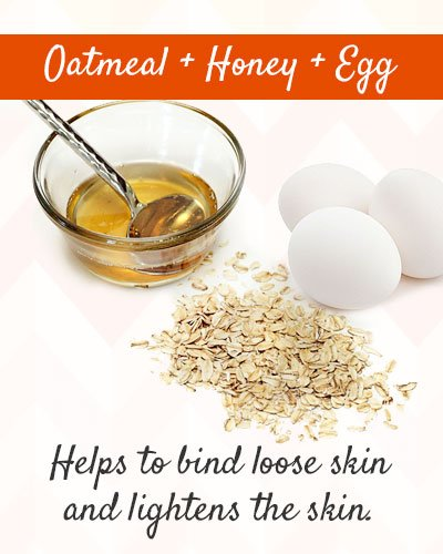 Oatmeal, Honey and Egg Mixture to Tighten Skin on Face