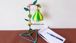 Plastic bottle lampshade is ready!