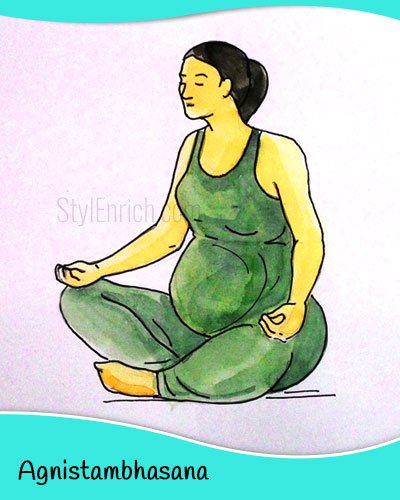 Agnistambhasana yoga for pregnant women