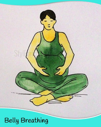 Belly breathing yoga for pregnant women