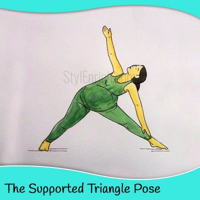 The supported triangle yoga pose for pregnant women