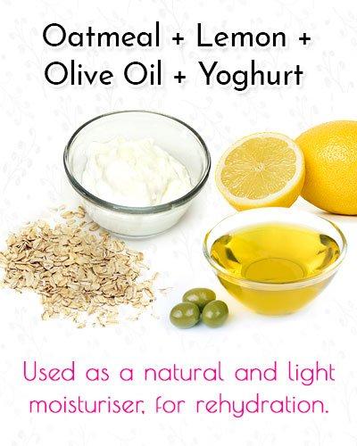 Oatmeal, Lemon, Olive Oil and Yoghurt Blackhead Mask