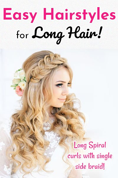 Long Spiral Curls With Single Side Braid