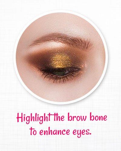 Highlight the brow bones