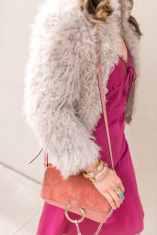 Wishing Well Intention Acacia Ring, rose pink chloe faye bag, julie vos baroque cuff, gigi bracelet, slip dress, iro kald fur jacket