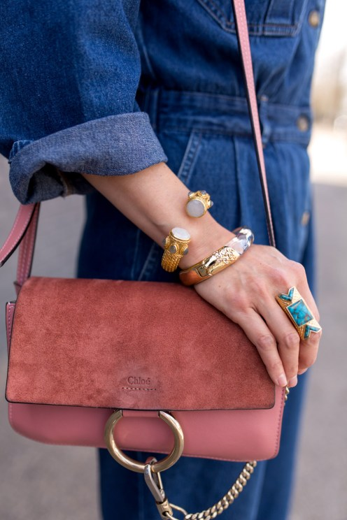 Wishing Well Intention Acacia Ring, rose pink chloe faye bag, julie vos baroque cuff, alexis bittar lucite bracelet