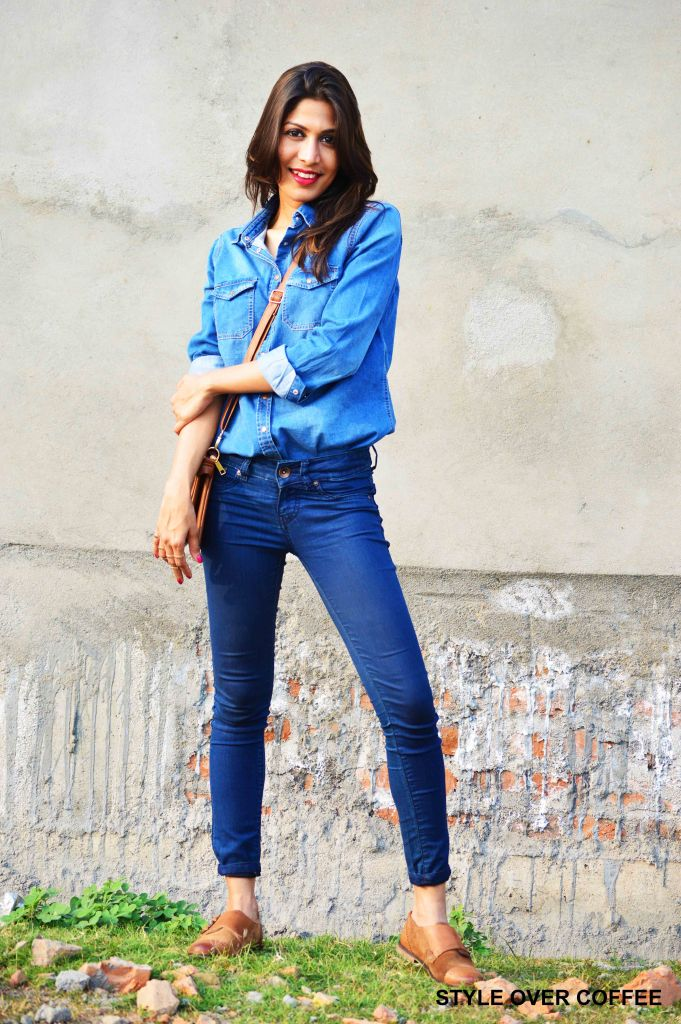Fashion, Style, Fashion photography, Fashion Blogger, Denim on Denim, Look Post, Outfit post, Denim Shirt, New Look Denim Shirt, Pepe Jeans, Carlton London Shoes, Tan Bag, Casual Wear, Style Over Coffee