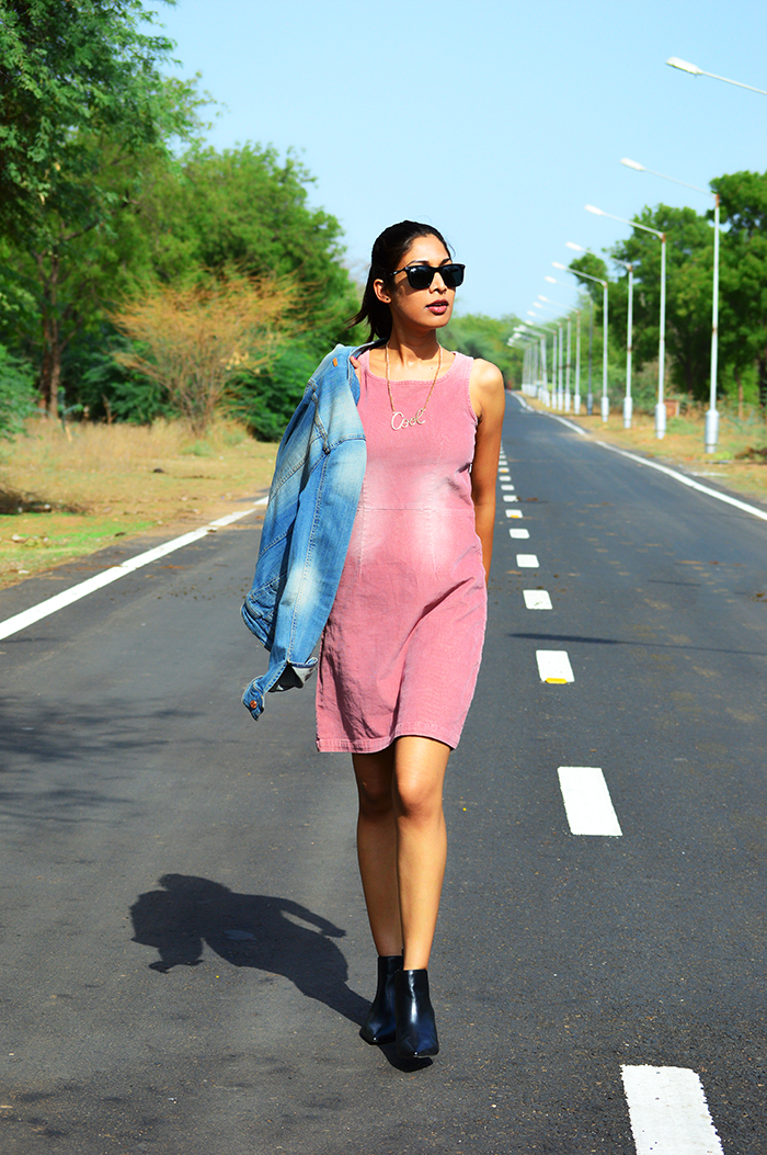 Fashion, Style, Fashion Photography, Street Fashion, Fashion Blogger, Casual wear, Indian Fashion Blogger, Mango Denim Jacket, Corduroy dress, Pink Dress, Mango Boots,